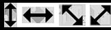 Up, down, diagonal left, diagonal right mouse cursor icons