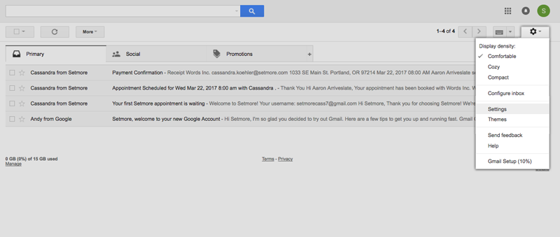 Opening the Settings tab inside Gmail account