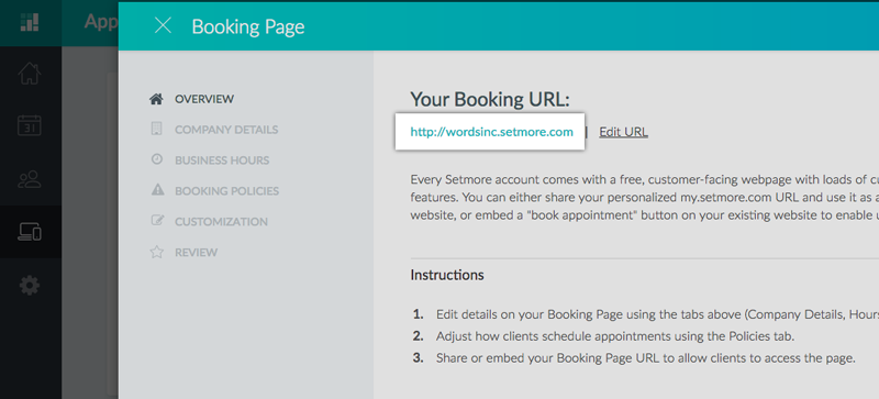 Copying your Setmore Booking Page URL