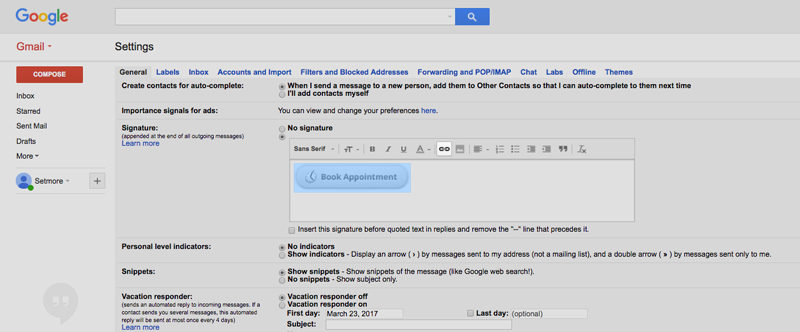 The Booking Button added to the Gmail Signature