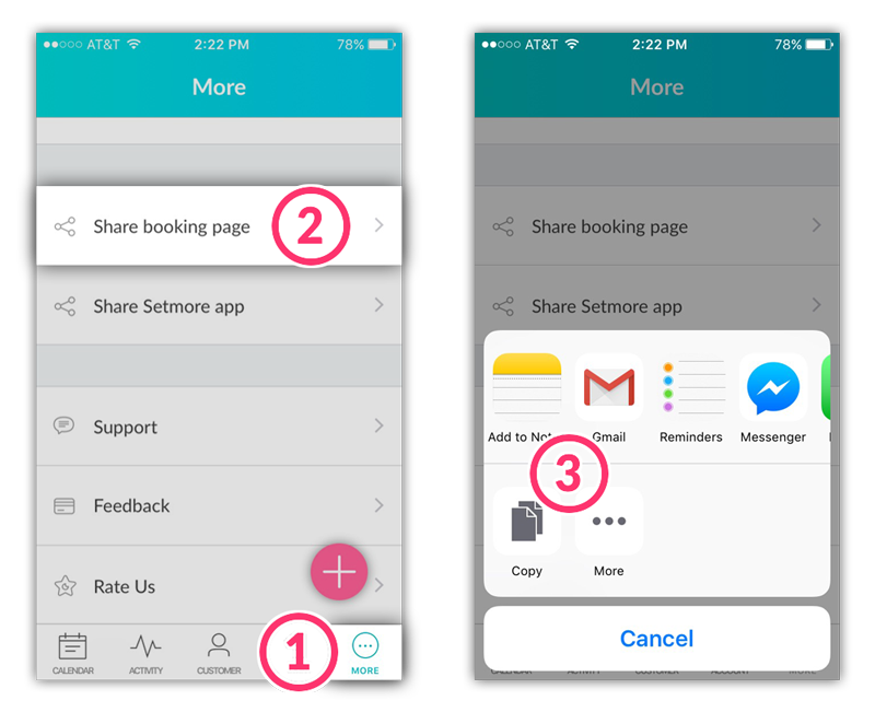 Steps to share the Booking Page from the Setmore mobile app