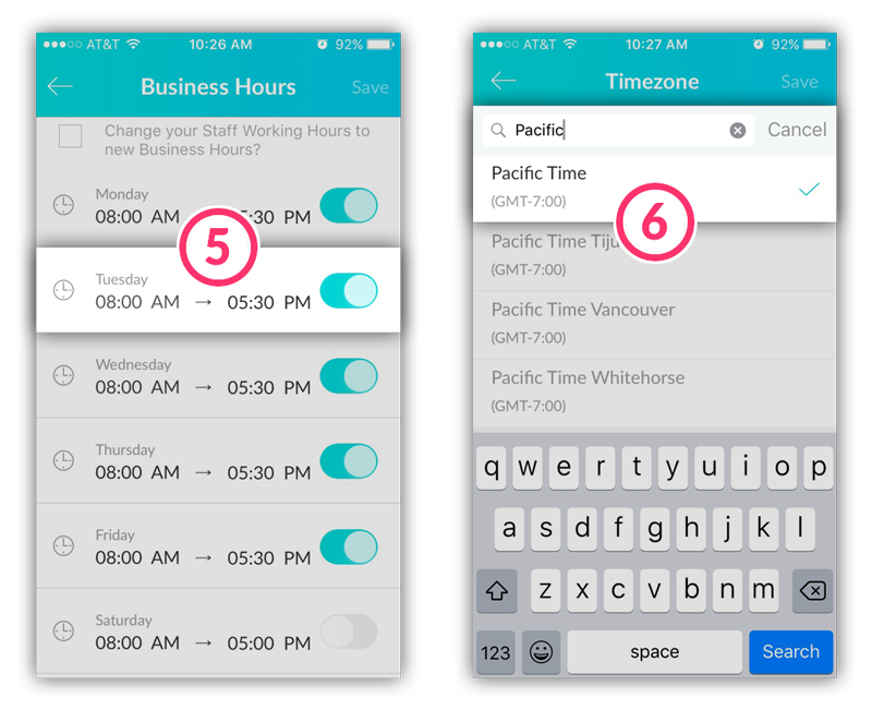 Adjusting the Business Hours and the Timezone on the mobile app