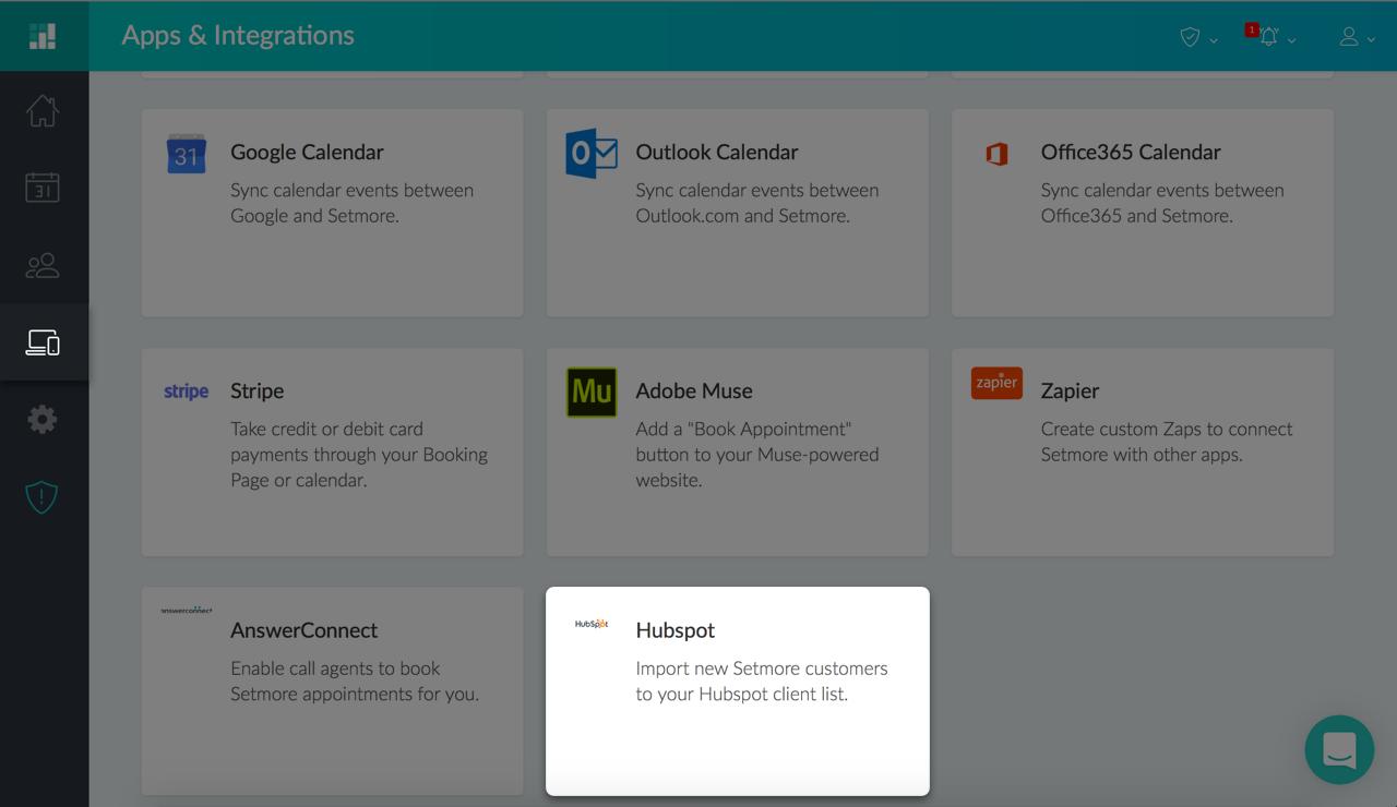 The HubSpot integration card under Apps & Integrations