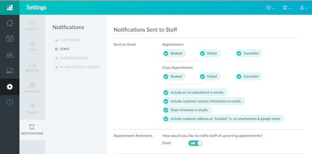 Checking the Send .ics attachments to staff email alerts