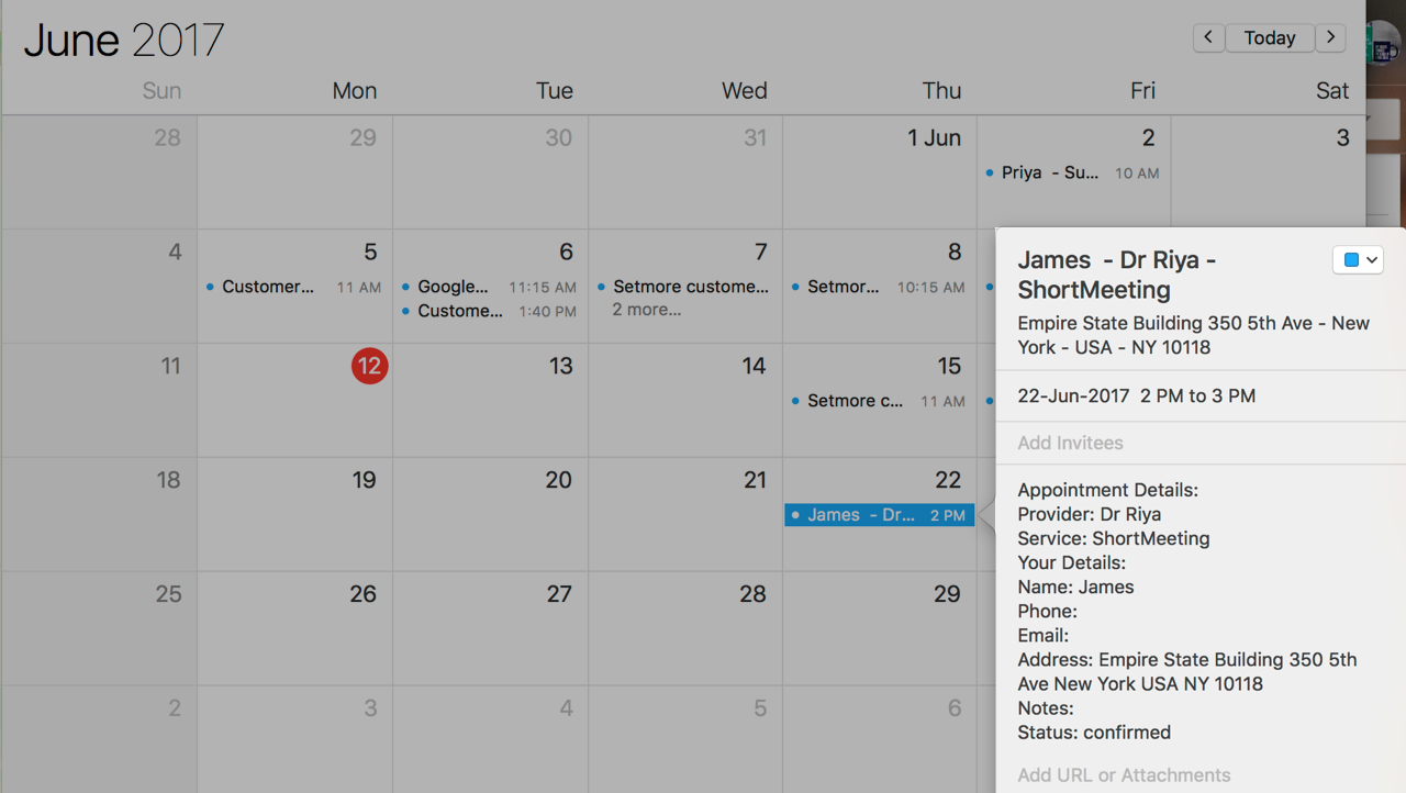 The customer location displayed in the appointment details on a calendar