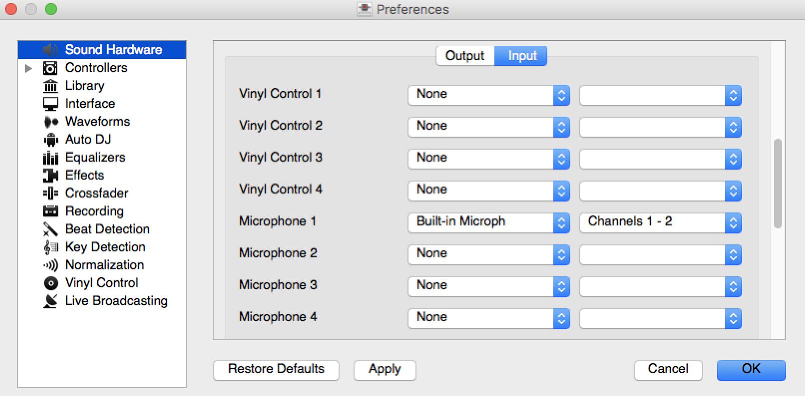 Mixxx preferences.