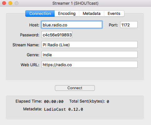Radio connection details in LadioCast.