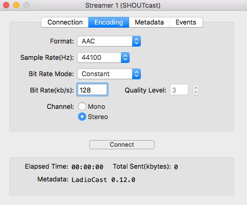 Encoding details in LadioCast.
