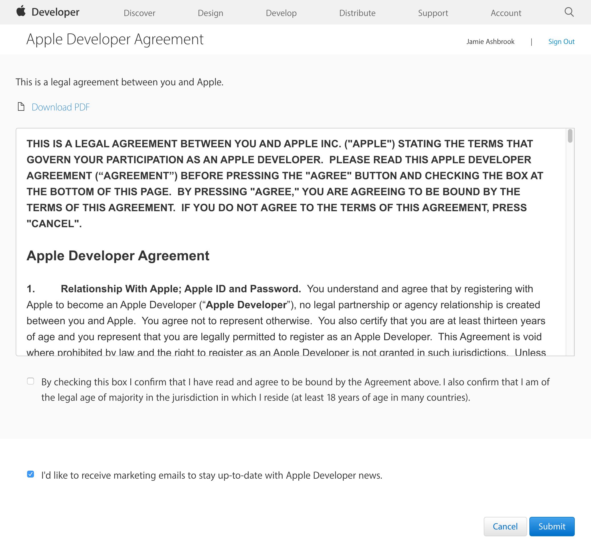 Apple developer agreement.