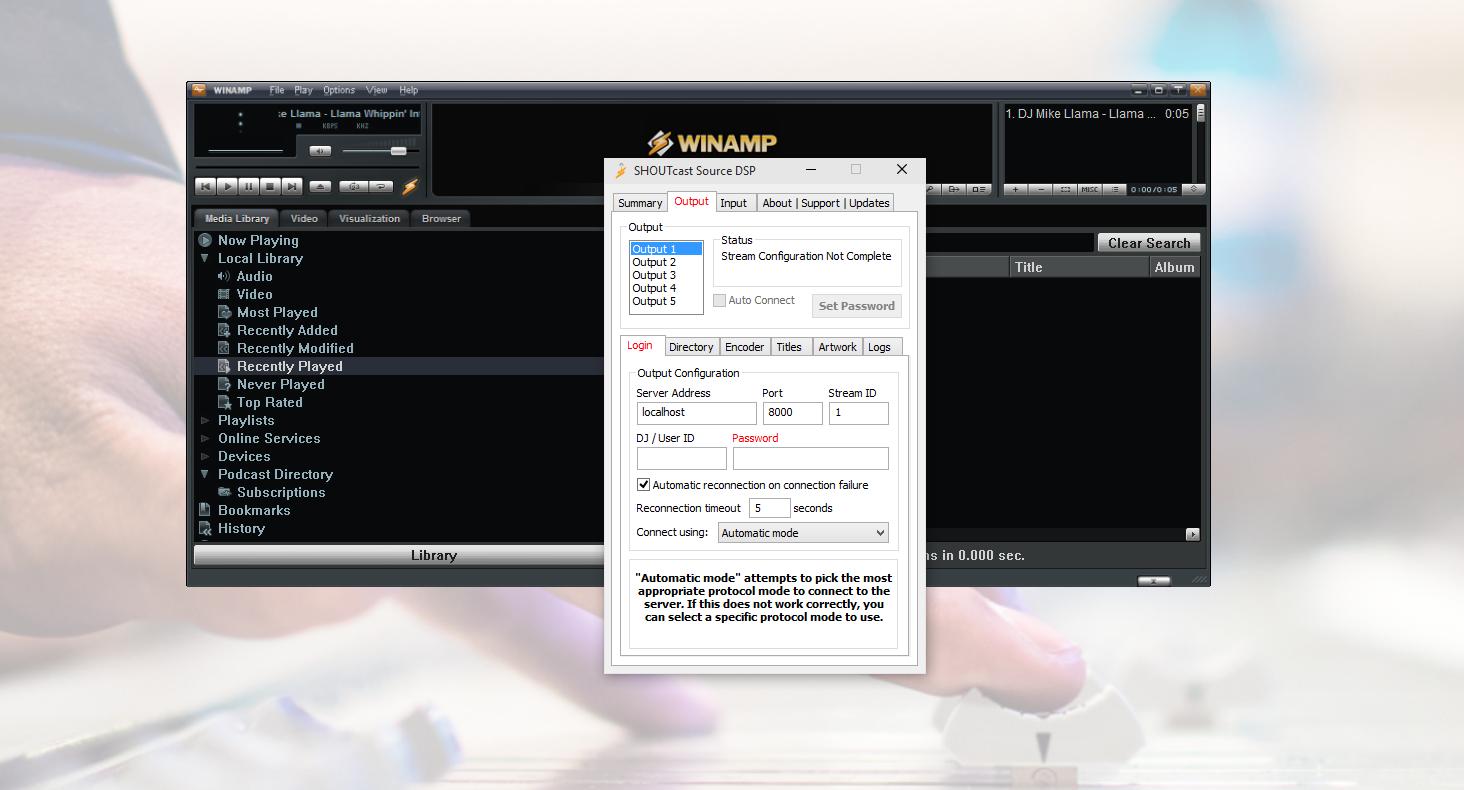Winamp dashboard.