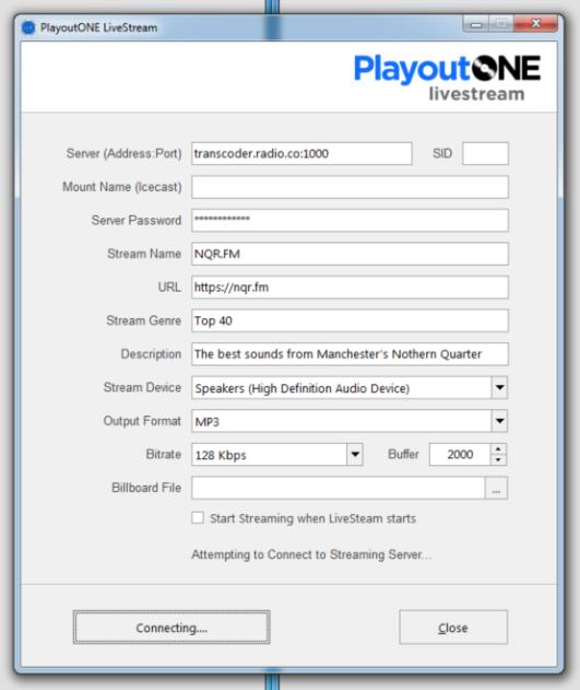 PlayoutONE radio server details.