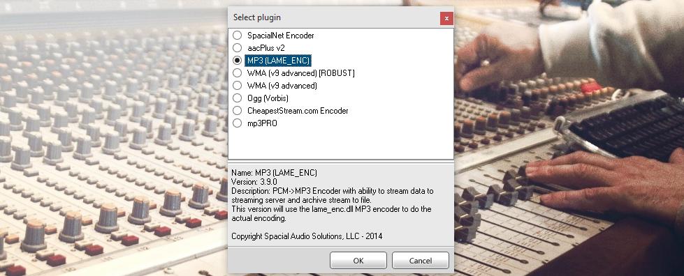 SAM Broadcaster Pro encoder setup.