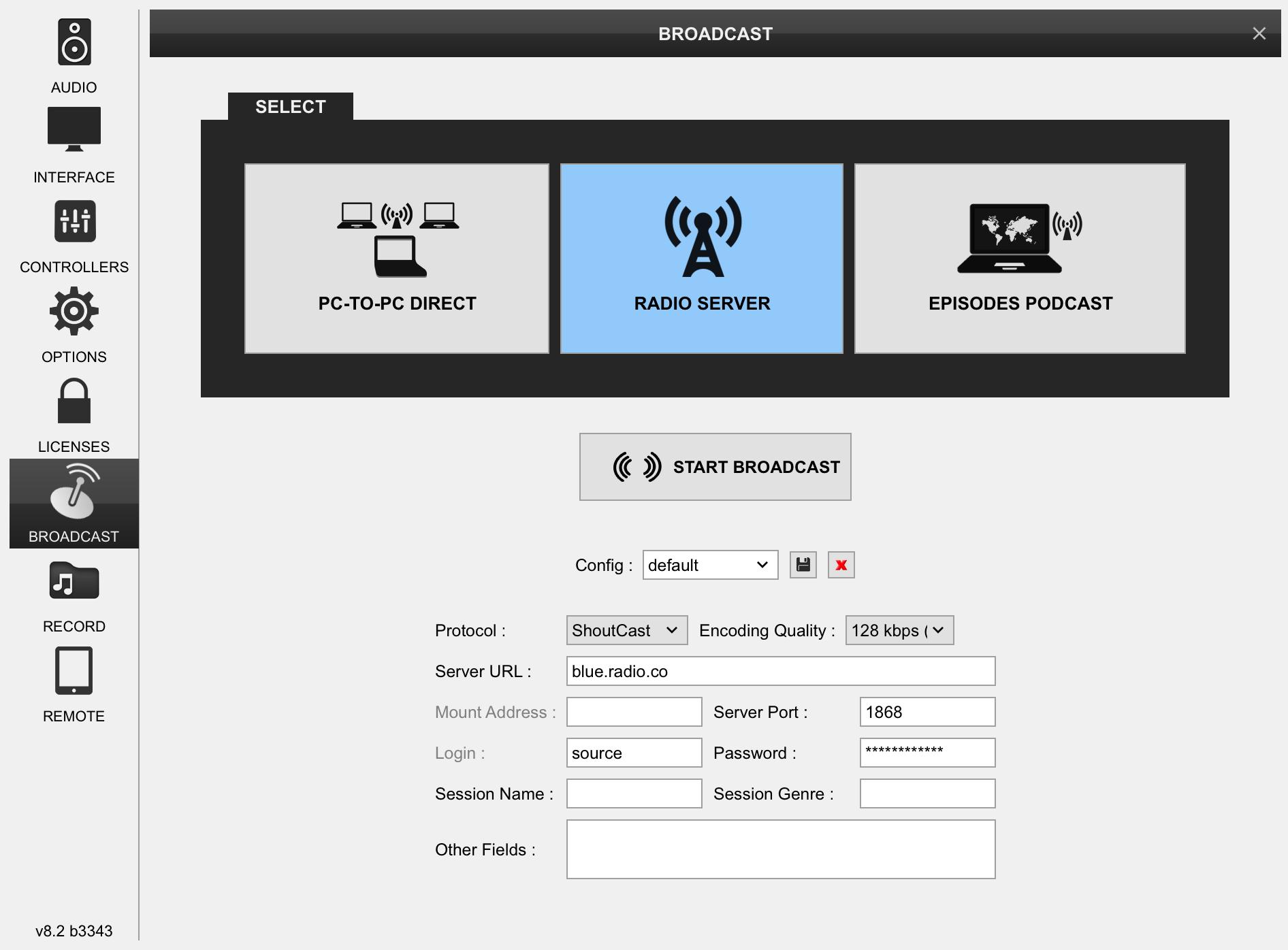 Virtual DJ Pro 8 radio server settings.