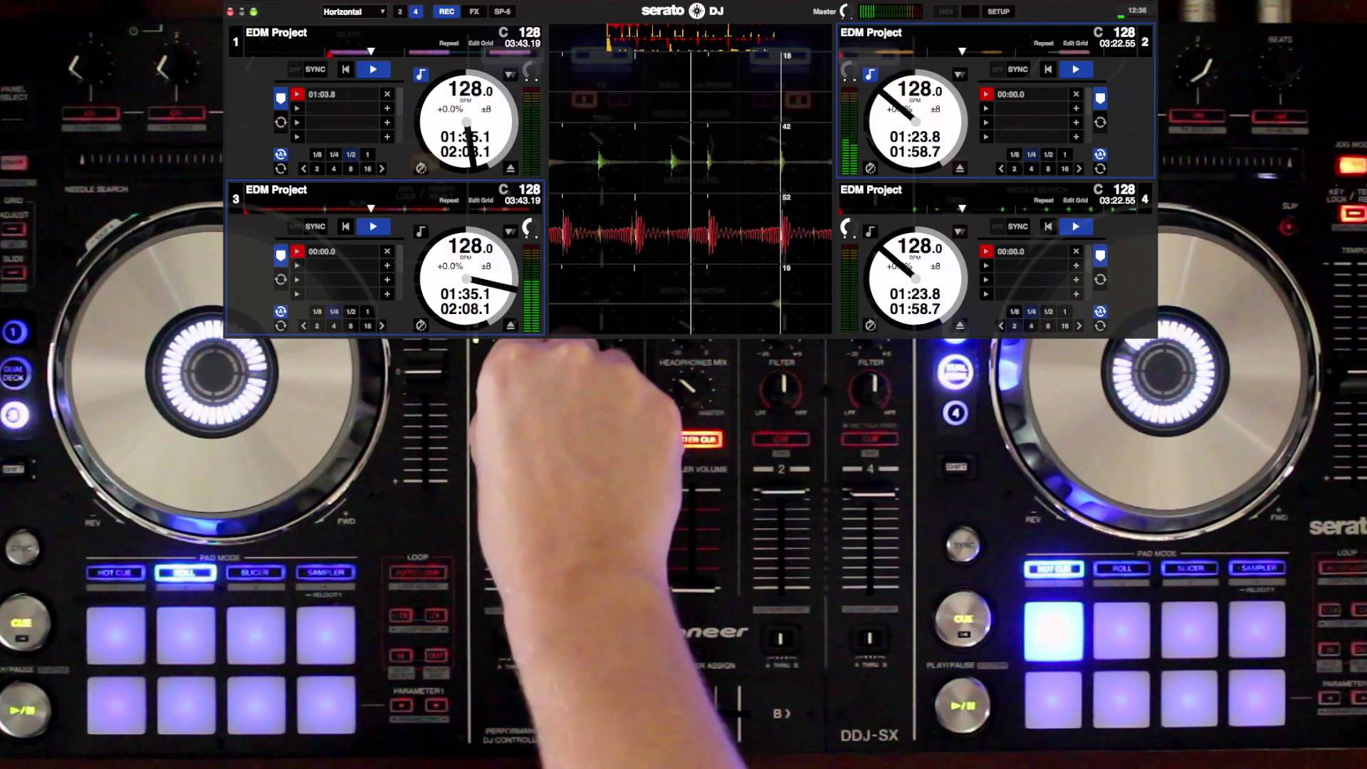 Serato DJ in use for a live set.