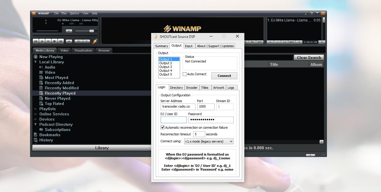 Winamp SHOUTcast source DSP radio server settings.