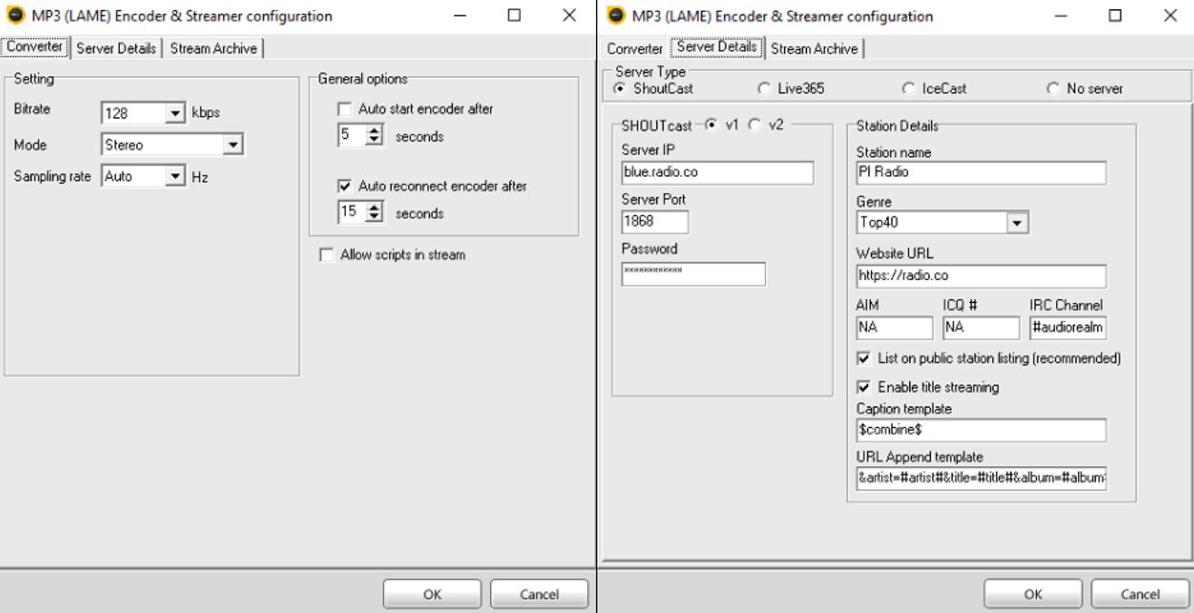 SAM Cast encoder details.