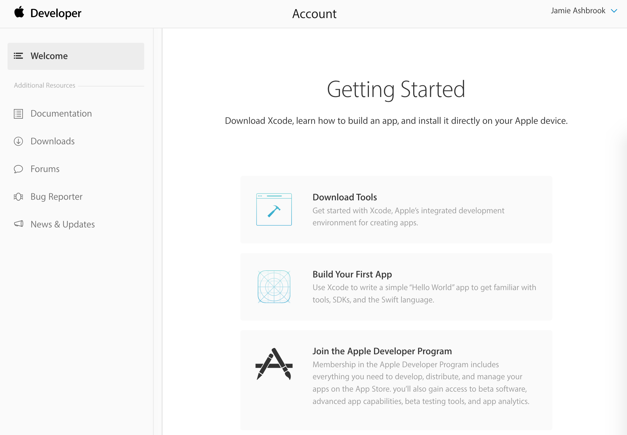 Apple developer getting started page.