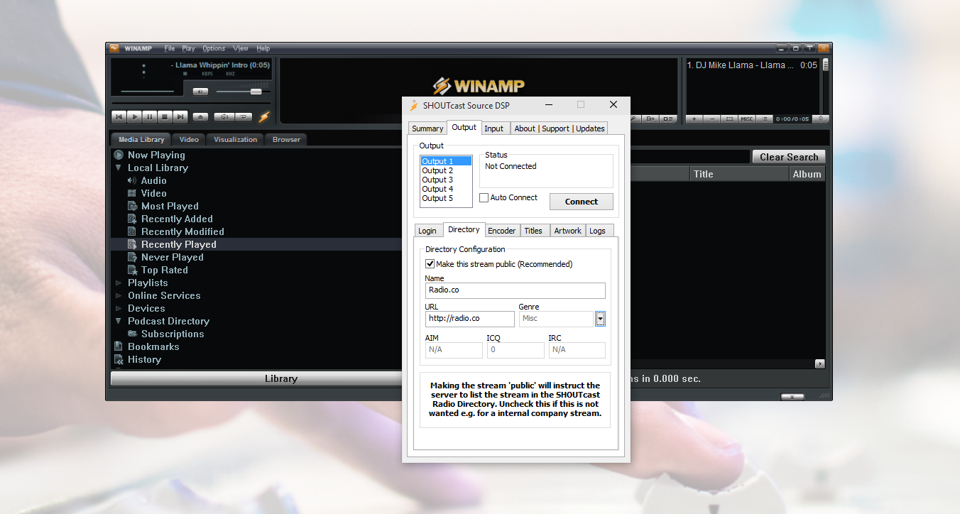 Winamp SHOUTcast source DSP directory settings.