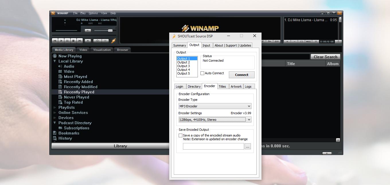 Winamp SHOUTcast source DSP encoder settings.