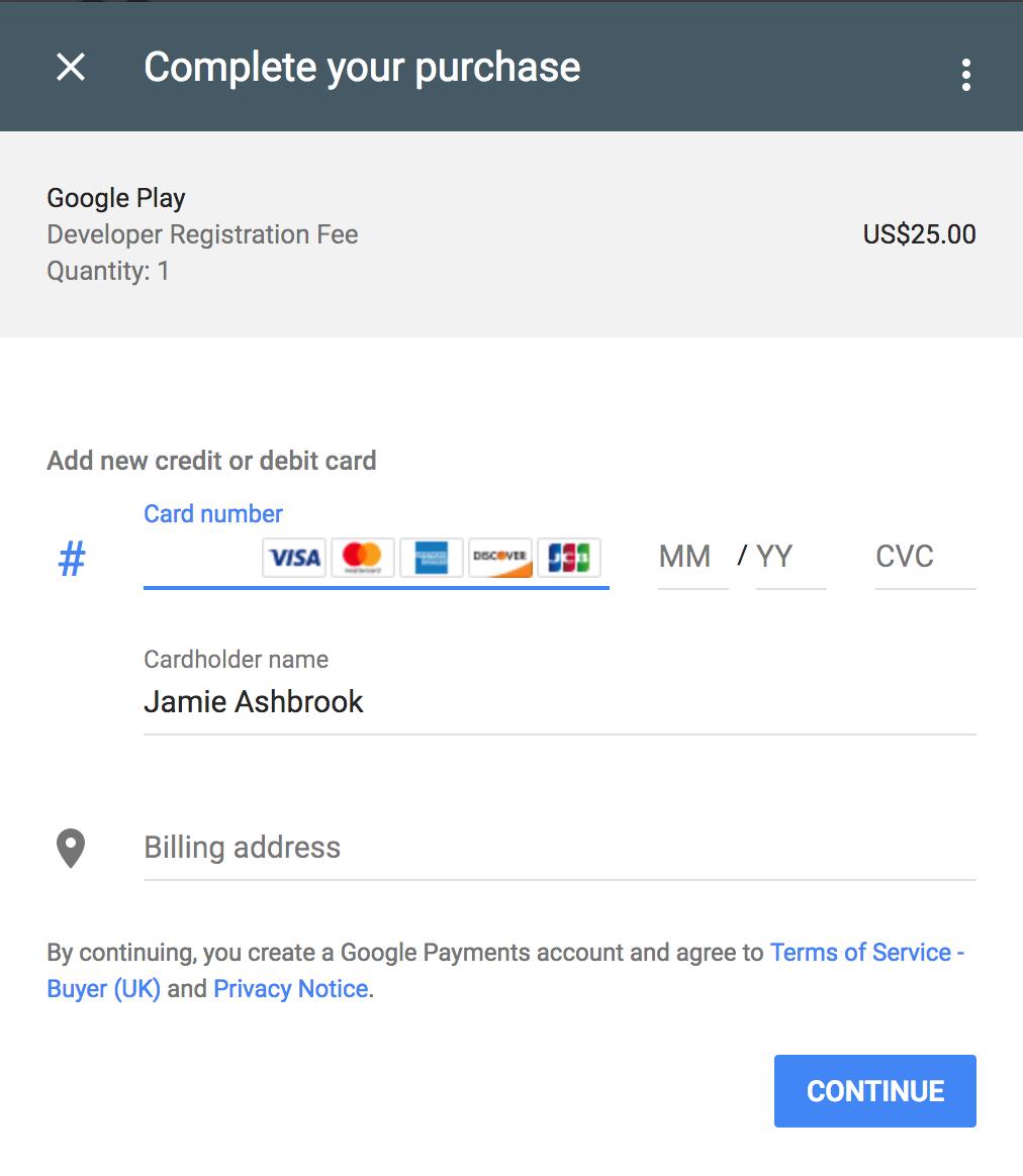 Google play developer console payment screen