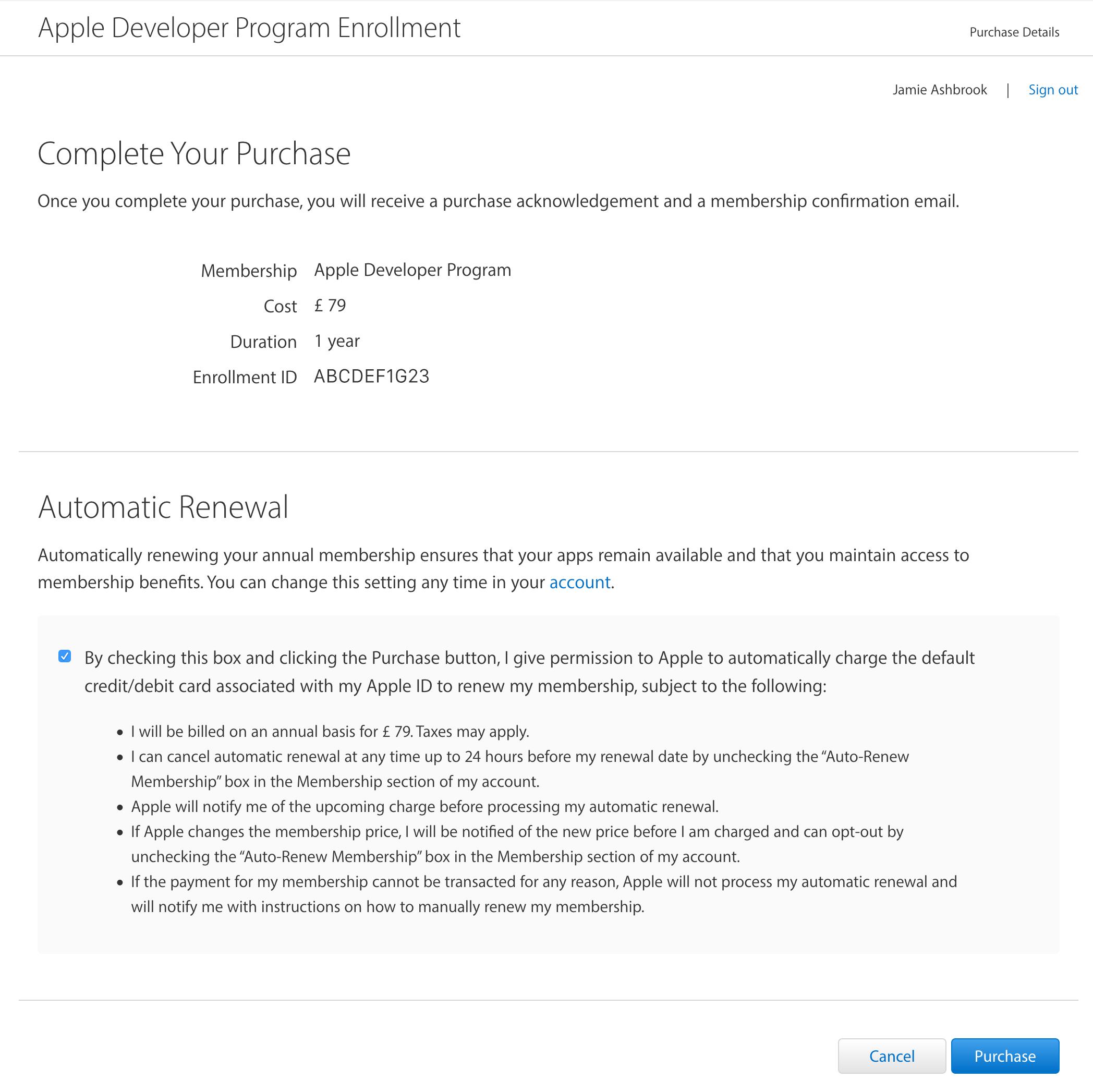 Apple developer enrollment purchase.