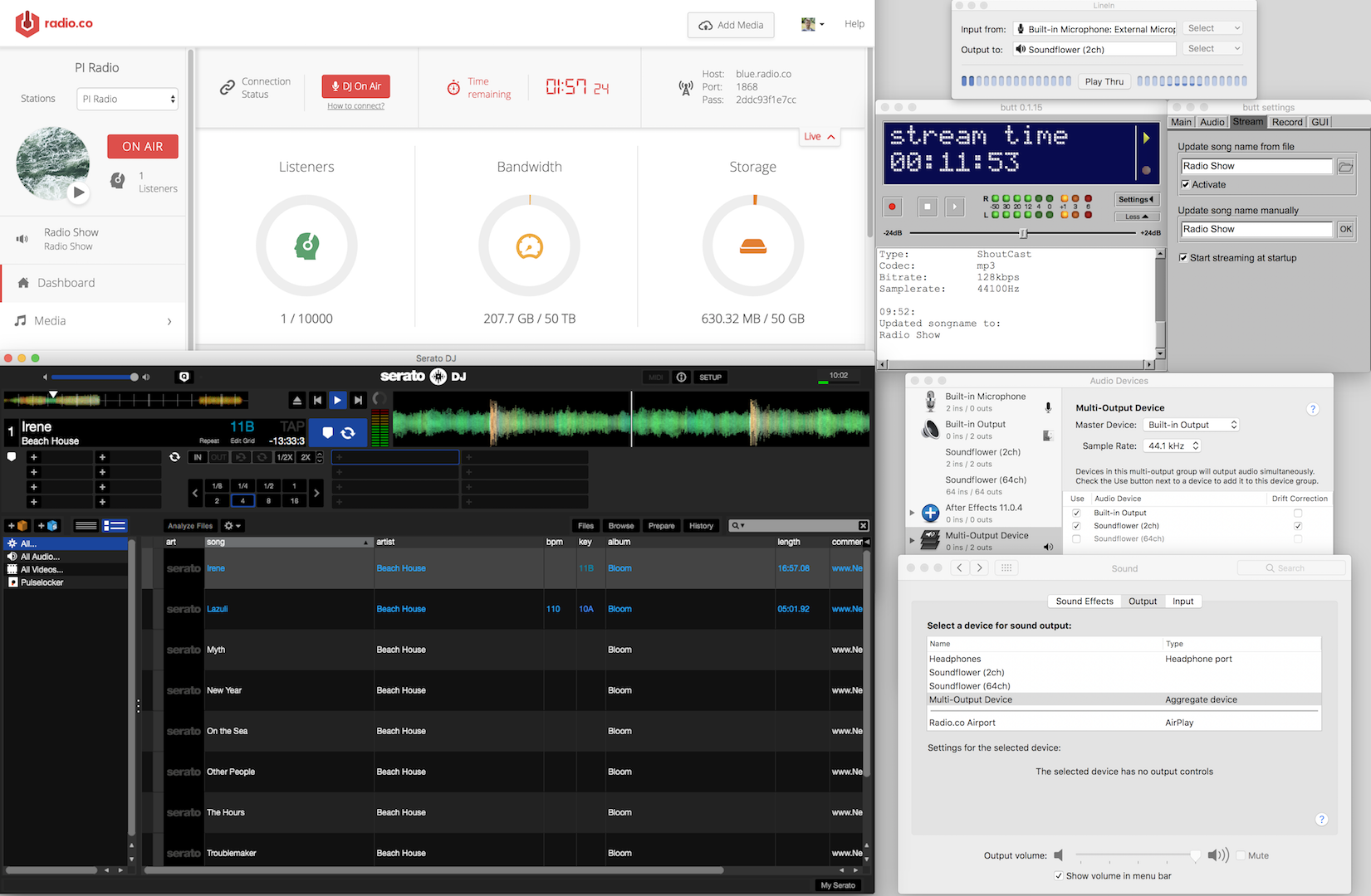 Live connection from Serato DJ to Radio.co.